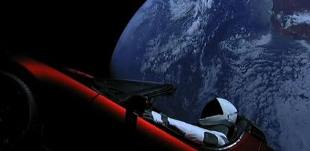 tesla roadster in space spaceman